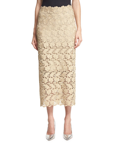 Lace Midi Pencil Skirt, Beige