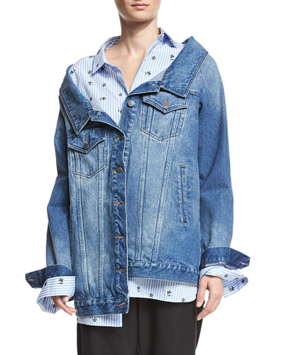 Long Denim Jacket, Blue
