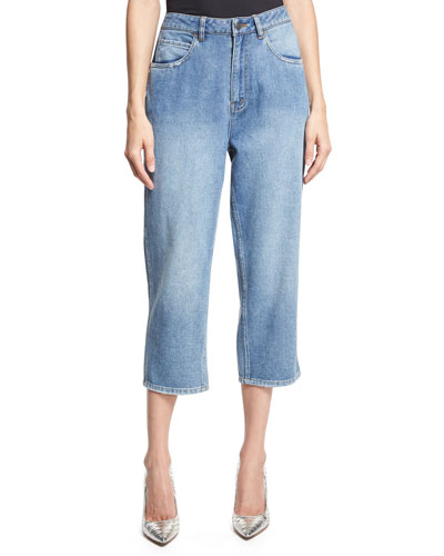 High-Rise Cropped Boyfriend Jeans, Blue