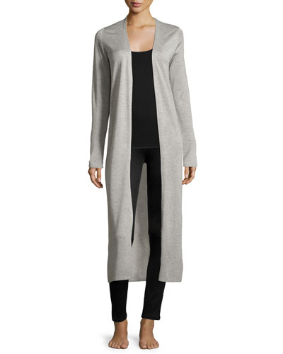 Silk-Cashmere Long Cardigan, Light Gray