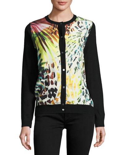 Leopard-Print Silk/Cashmere Bomber Cardigan