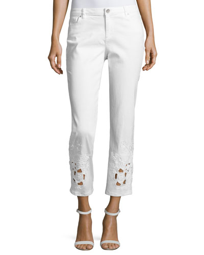 Kiana Ankle Jeans w/ Beaded Lace Cuffs, White