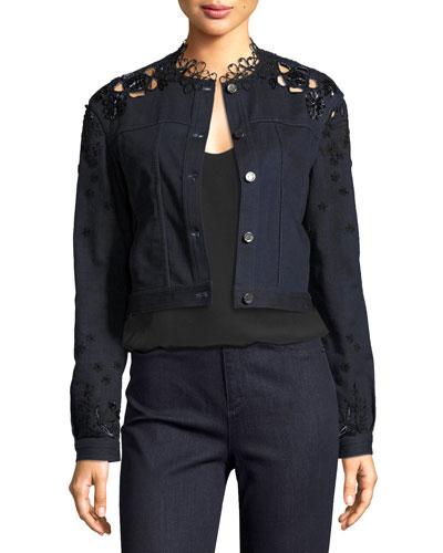 Esperanza Embroidered Lace-Back Denim Jacket, Blue