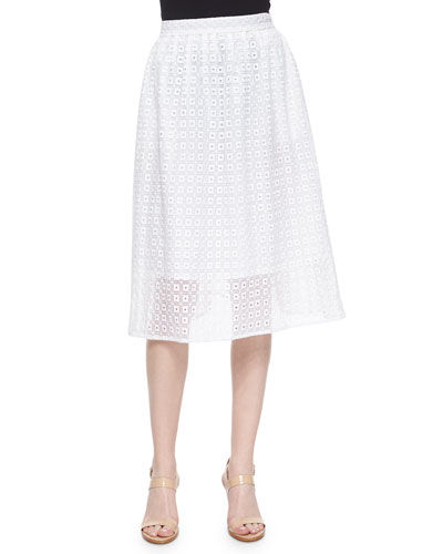 Geometric Eyelet Lace Skirt