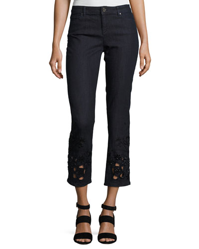 Kiana Ankle Jeans w/ Beaded Lace Cuffs, Blue