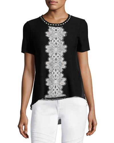 Raquel Embroidered Short-Sleeve Sweater w/ Chiffon Back, Black