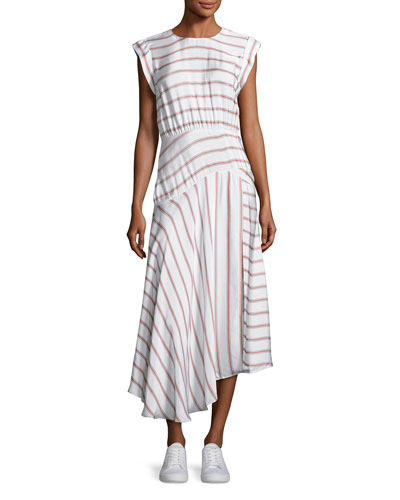 Jackie Asymmetric Striped Midi Dress, White