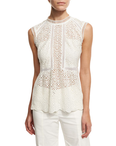 Edie Sleeveless Lace Top, White
