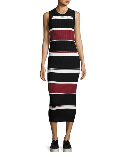 Macgraw Sleeveless Striped Midi Dress, Black