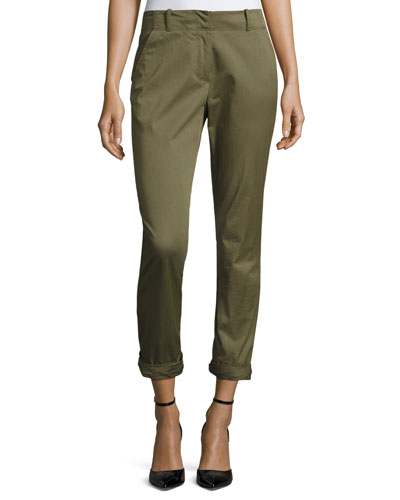 Coach Cuffed Twill Pants, Olive