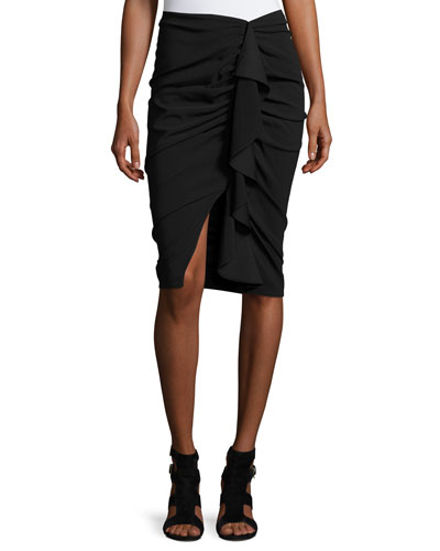 Drew Stretch Jersey Cascading Ruffle Pencil Skirt, Black