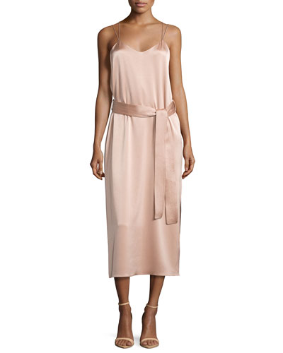 Sleeveless Double-Strap Satin Slip Dress, Light Beige