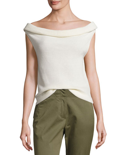 Stone Cap-Sleeve Ribbed Silk-Blend Sweater, Ivory