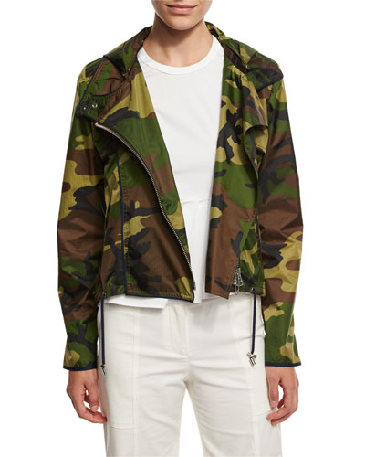 Hero Hooded Cropped Camo Jacket, Olive