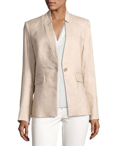 Linen-Blend Up-Collar Jacket