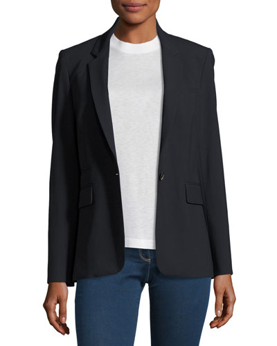 Classic Stretch Crepe Jacket, Navy