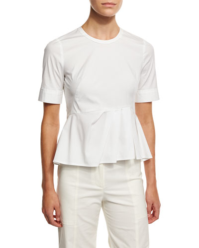 Short-Sleeve Stretch Poplin Peplum Top, White