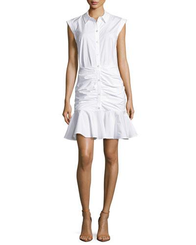 Bell Sleeveless Ruched Stretch Poplin Dress, White