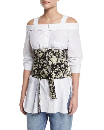 Floral Embroidered Tie-Waist Corset