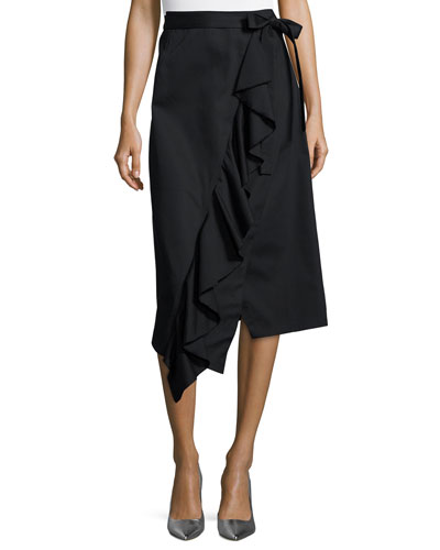 Asymmetric Ruffle Wrap Midi Skirt, Black