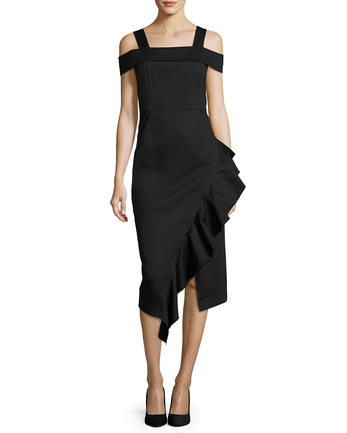 Cold-Shoulder Asymmetric Ruffle Midi Dress, Black