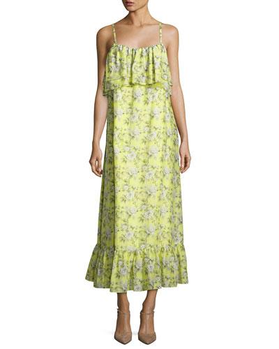 Floral-Print Tiered Maxi Slip Dress, Yellow Pattern