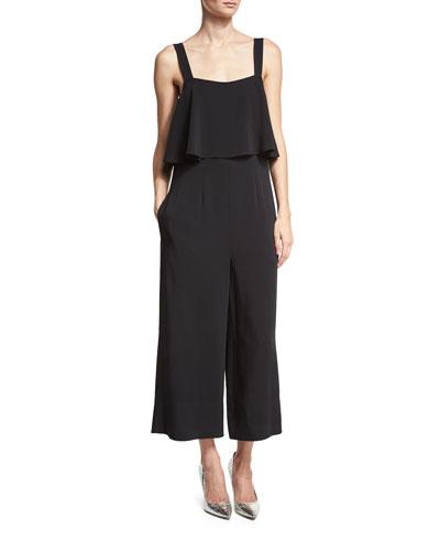 Sleeveless Popover Culotte Jumpsuit, Black