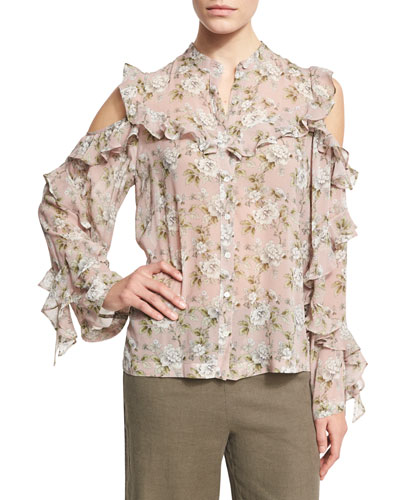 Floral-Print Silk Cold-Shoulder Shirt, Pink