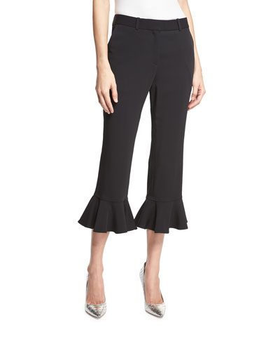 Ruffle-Hem Cropped Flare-Leg Pants, Black