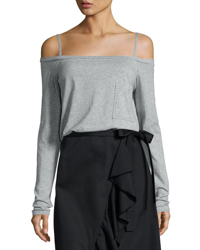 Knit Cold-Shoulder Long-Sleeve Tee