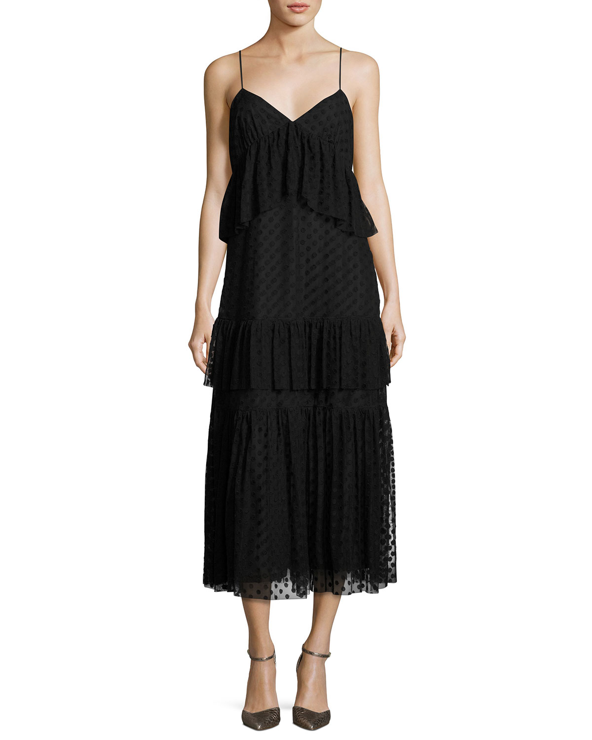 Sleeveless Polka-Dot Lace Tiered Dress, Black