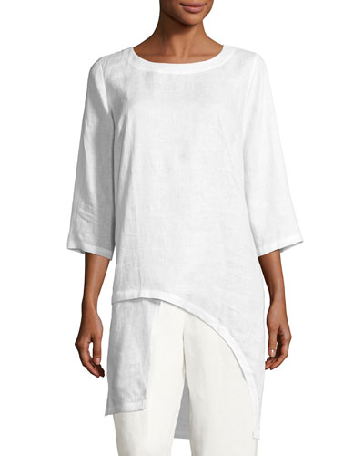 Linen Drama Top, White, Petite