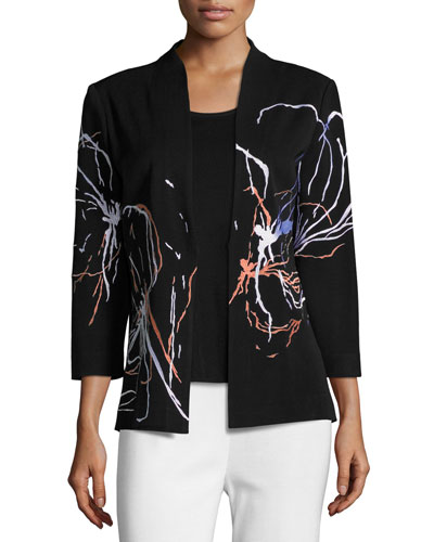 Fireworks Embroidered Jacket, Petite