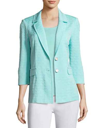 Textured Two-Button Jacket, Sea Grass