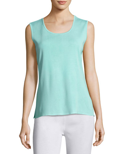Scoop-Neck Knit Tank, Sea Grass, Petite