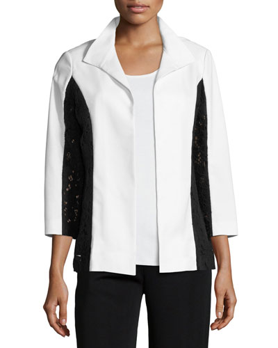 Lace-Detail Wing Collar Jacket, Plus Size