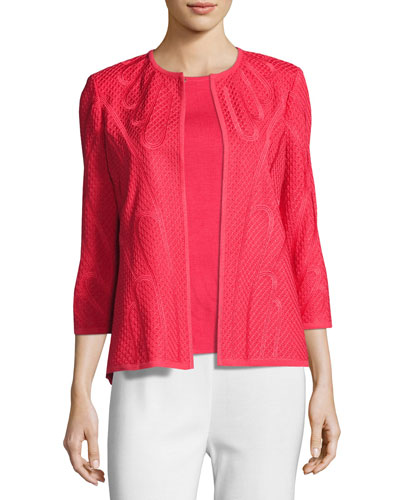 Textured 3/4-Sleeve Jacket, Sorbet, Plus Size