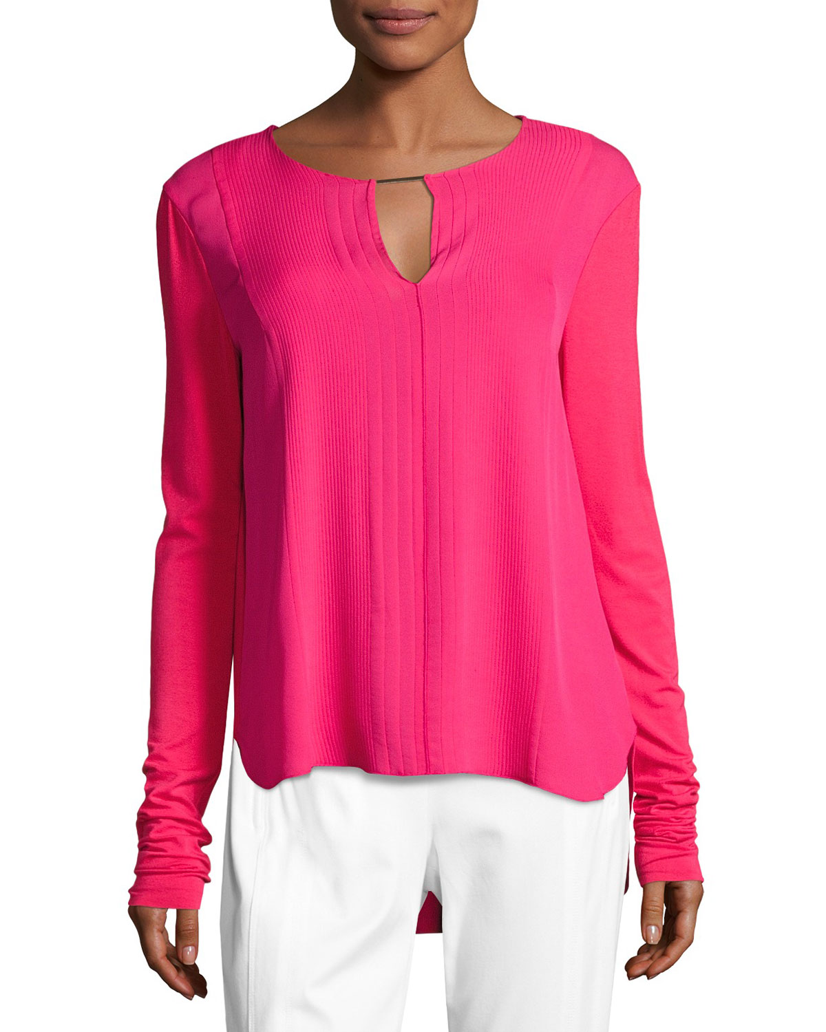 Amerie Mixed-Media Silk-Combo Blouse, Pink