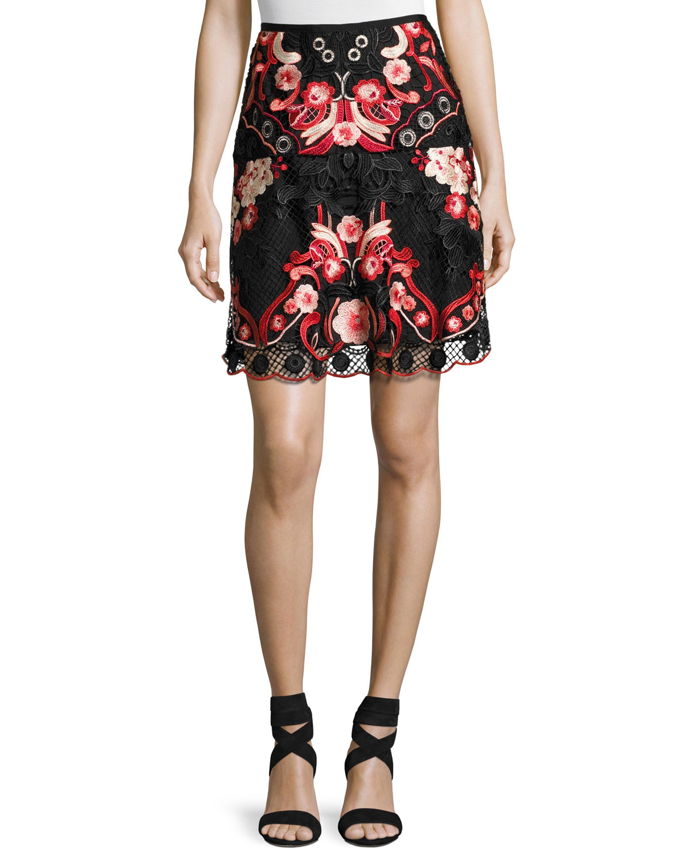 Bristal Floral Lace Skirt, Multi