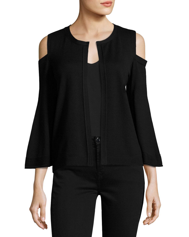 Julianne Cold-Shoulder Open-Front Cardigan, Black