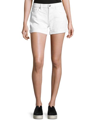 Emma Cuffed Denim Bermuda Shorts, Optic White