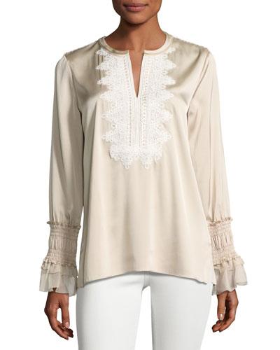 Naya Long-Sleeve Blouse w/ Crocheted Bib, Ivory