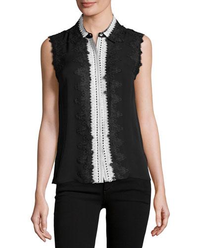 Odelia Sleeveless Lace-Trim Silk Blouse, Black