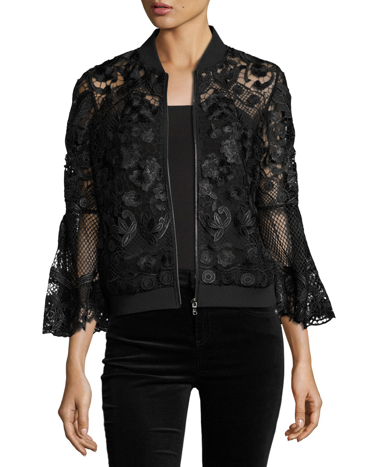 Kali Bell-Sleeve Lace Bomber Jacket, Black