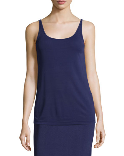 Stretch Silk Long Cami, Dark Blue, Petite