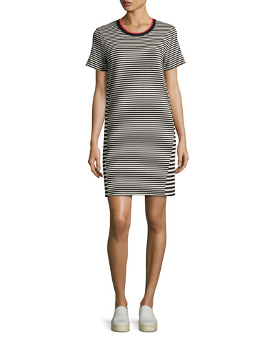 Short-Sleeve Striped T-Shirt Dress, Multi