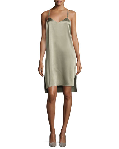 Double-Strap Satin Slip Dress, Green