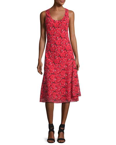 Sleeveless Knee-Length Printed Silk Dress, Red