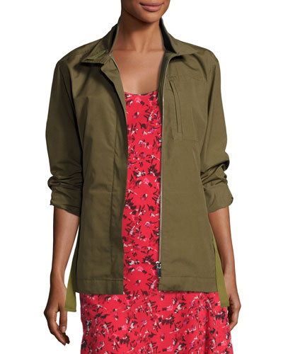 Zip-Front Military Jacket, Green