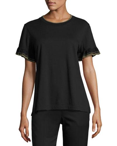 Ruffle-Sleeve Crewneck T-Shirt, Black